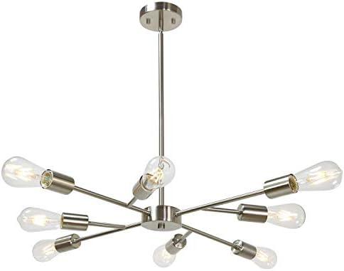 Banato Sputnik Chandelier 8 Lights Vintage Pendant Lighting Fixtures Mid Century Ceiling Chandelier Brushed Nickel for Dining Room Kitchen Living Room Foyer and Hallway