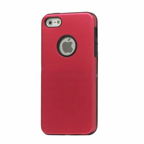Cover Custodia per Apple iPhone 5 case alluminio/silicone Amaranto
