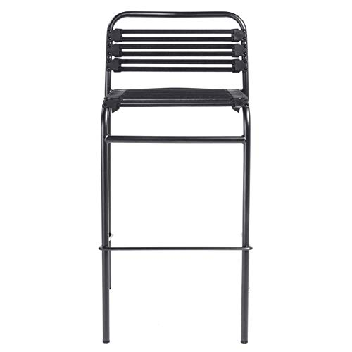 (Euro Style Bungie Flat Bar Stool in Black with Graphite Black Legs - Set of)