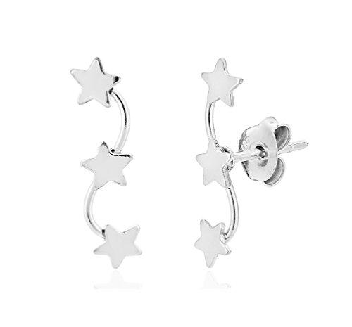 DTPsilver - Boucles d'oreilles Femme en Argent Fin 925 en Forme de 3 Étoile - Fermoir clou