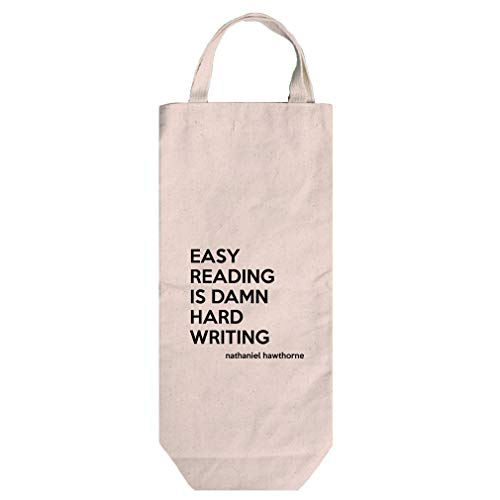 - Hard Writing (Nathaniel Hawthorne) Cotton Canvas Wine Bag Tote With Handles