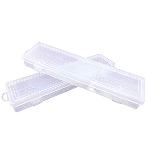 Paint Brush Holder for Long Paintbrushes, Paint Brushes Storage Box Watercolor Pen Container Drawing Tools, Clear – 2Pcs