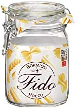 Bormioli Rocco 292075 Fido Storage Jar-Wire Bail-1 L-1 Pack, 1 liter, Clear