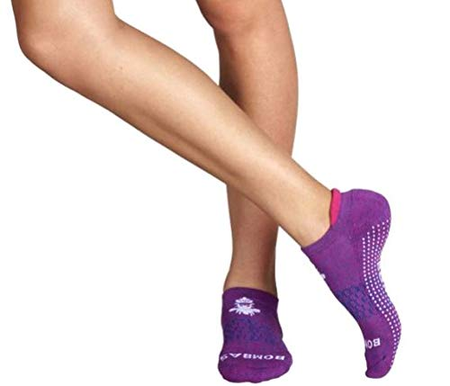 Bombas Women's Grippers Ankle Socks, (Purple, Medium)