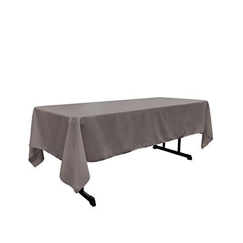 LA Linen Polyester Poplin Rectangular Tablecloth, 60 by 102-Inch, Grey Dark Dark Gray Cloth