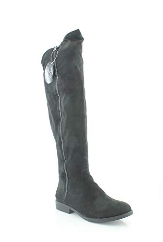 Style Boot Equestrian (Style & Co. Womens HADLEYY Wide Calf Round Toe Knee High Suede Fashion Boots, Black, Size 7.5)