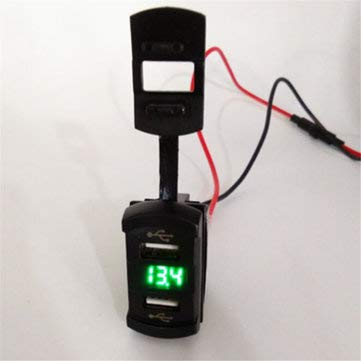 C-FUNN 12V 4.2A Dual Usb Charger Led Volt Meter Voltage Meter Switch Panel - Green: