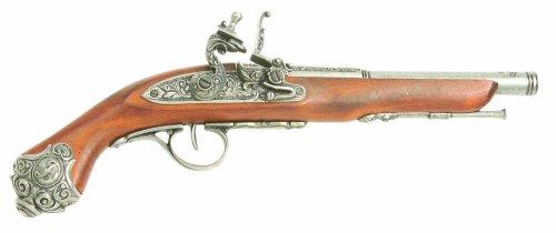(Denix 18th Century Flintlock Pistol with Grey Ornate Handle Butt - Non-Firing Replica)