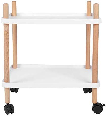 Nieuwe Uitgave GWFVA bijzettafel, 2 lagen catering trolley theetafel opbergwagen bijzettafel trolley tafel sofa bijzettafel trolley wagen met wielen voor keuken slaapkamer woonkamer wit  Sr6j21X
