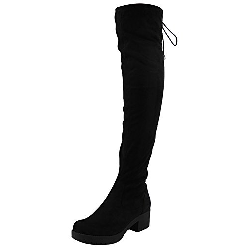 Womens Ladies Thigh High Over The Knee Long Low Heel Lace Up Stretchy Boots Size 3-8 Black