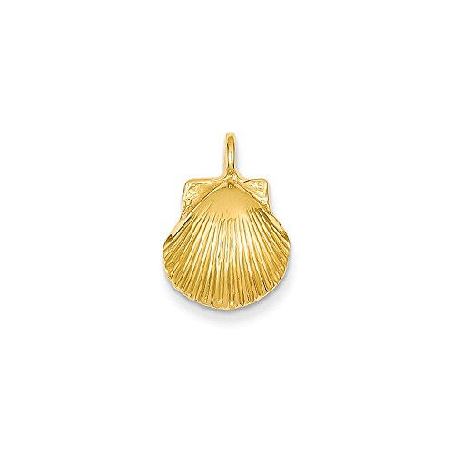 14K Yellow Gold Seashell Charm Pendant (Yellow 14k Seashell Gold)