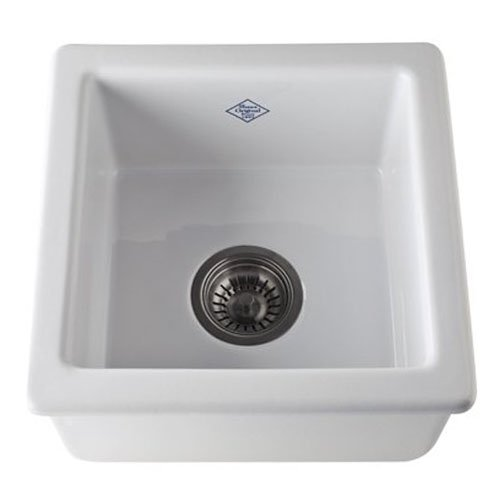 Rohl RC1515WH 15-Inch by 15-Inch by 7-17/32-Inch Deep Single Bowl Undermount or Drop Fireclay Kitchen or Prep Sink in ()