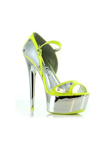 Ellie Shoes 6 Inch DOrsay With Metallic Plates (Yellow;7) sIdiJAMiHA