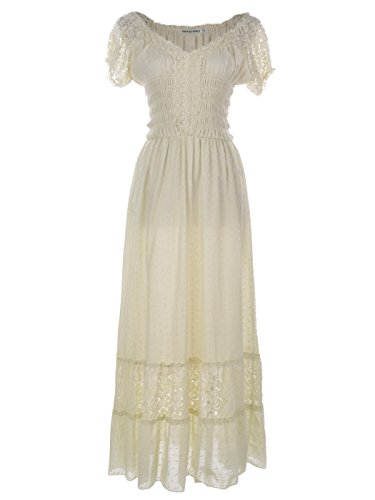 Anna-Kaci Peasant Maiden Boho Inspired Cap Sleeve Lace Trim Maxi Dress, Beige, - Era Steampunk