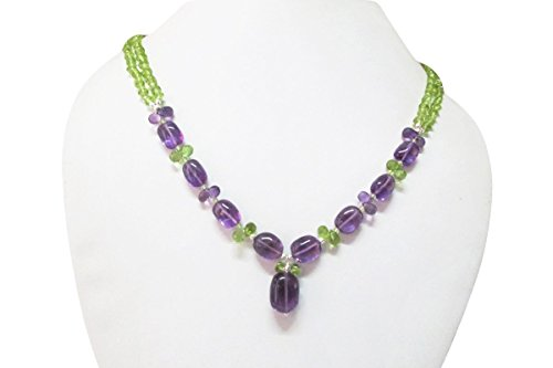 Amethyst & Peridot Beaded Necklace with Sterling Silver Beads Handmade Jewelry by Anushruti 16
