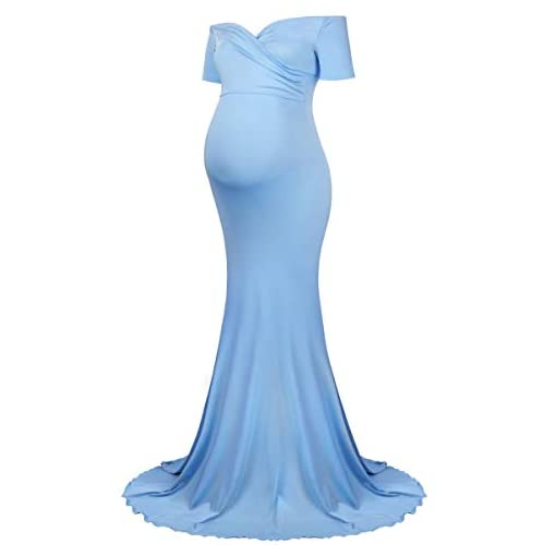 Maternity-Long-Dress-Off-Shoulder-Elegant-Fitted-Gown-Stretchy-Maxi-Photography-Dress