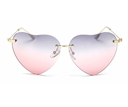 Heartisan Super Cute Heart Shaped Rimless Bicolor Lens Sunglasses - Sunglasses Tagheuer