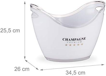 Relaxdays 10028655 Champagne Premium-Enfriador de champán (6 L, 25,5 x 34,5 x 26 cm), Color Blanco, plástico