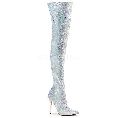 5 Inch Glitter Thigh High Boot, 1/3 Side Zip (White Multi ()