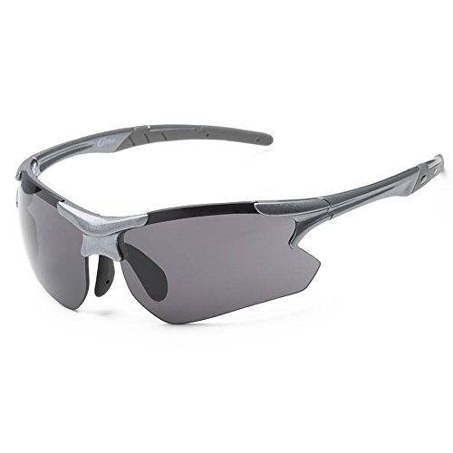 SACAS Running Cycling Triathlon Fashion Sports Wrap Sunglasses UNBREAKBLE TR90 Frame in Gunmetal & Smoke