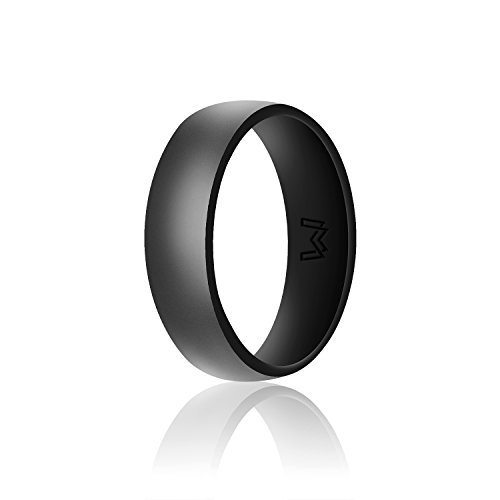 Wigerlon Mens Silicone Wedding Ring&Rubber Wedding Bands for Workout and Sports Width 8mm Color Blck Size 9