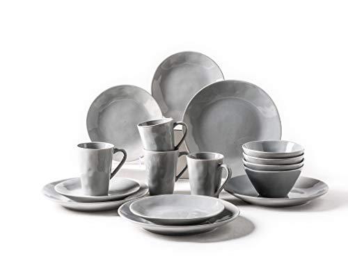 pangu 16-Piece Dinnerware Sets, Venice, Service for 4 (Light Grey)