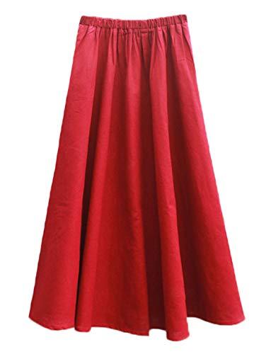 Soojun Women's Solid Cotton Linen Retro Vintage A-line Long Flowy Skirts, Red, Small Petite-75cm