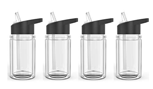 Set of 4 Double Wall Kids Sport Water Bottle 10 Oz With sipper straw (Clear)