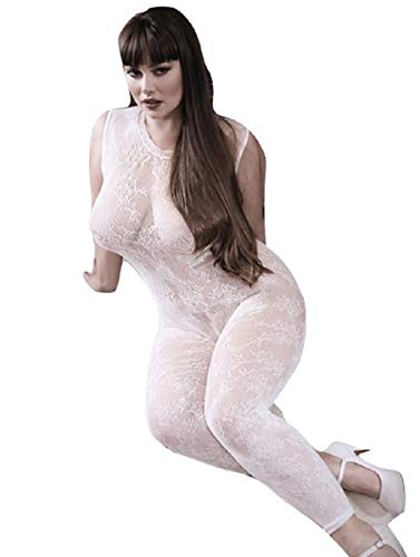 Fantasy Lingerie Sheer Fantasy Lace Edge Floral Bodystocking W/Keyhole Back Detail White Plus Size Queen