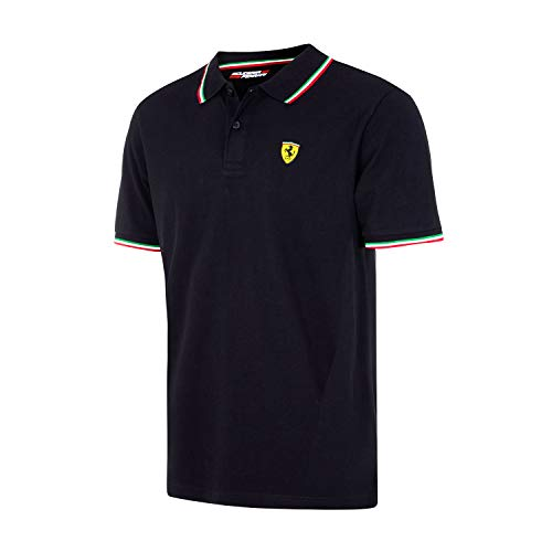 Scuderia Ferrari Men's Formula 1 2018 Authentic Men's Black Tri-Color Polo (Medium)