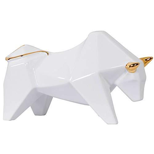 - Varaluz Casa 401A12WHGO Origami Zoo Ceramic Bull Statue - White with Gold