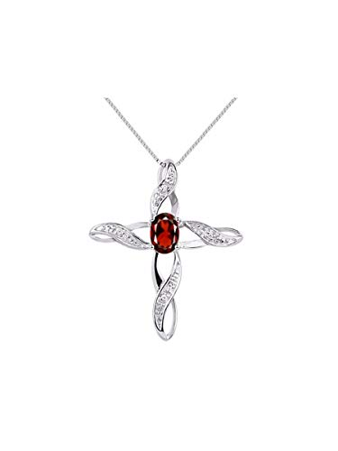 - Diamond & Garnet Cross Pendant Necklace Set In Sterling Silver .925