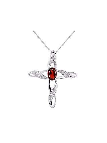 Diamond & Garnet Cross Pendant Necklace Set In Sterling Silver - Diamond Garnet Cross Necklace