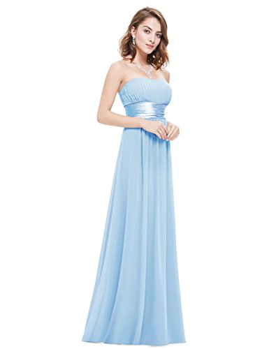 Ever Pretty Womens Ruched Bust Empire Waist Long Simple Prom Dress 4 US Sky Blue
