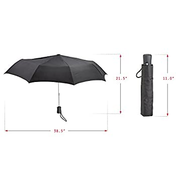 Lewis N. Clark Compact & Lightweight Travel Umbrella Opens & Closes Automatically, Black, One Size 2