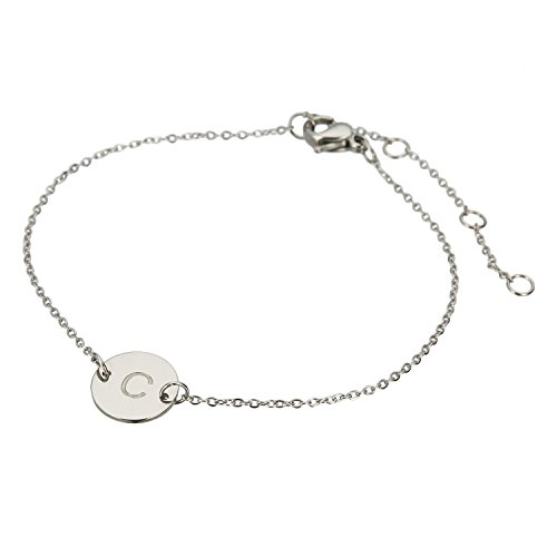 HUAN XUN Stainless Steel C Initial Bangle Bracelet Danity (Initials Stainless Steel Bracelet)