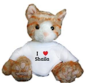 Amazon.com: café gato de peluche con I Love Shaila playera ...