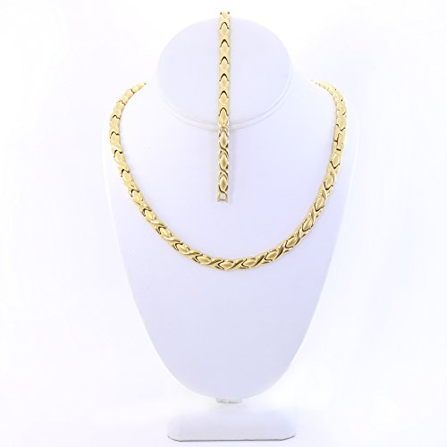 SPARKLE XOXO Hugs And Kisses Stainless Steel Stampato Necklace And Bracelet Set Gold Tone 20″ Length