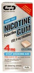 Rugby Sugar Free Nicotine Polacrilex Gum - 4 MG, Original Flavor, 50 pieces - Stop Smoking Aid
