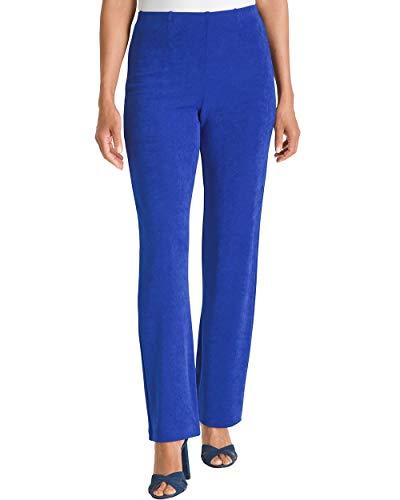 (Chico's Women's Petite Travelers Classic No Tummy Pants Size 8P/10P M (1P) Blue)