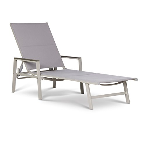 Carabelle Gray Sling Patio Chaise Lounge