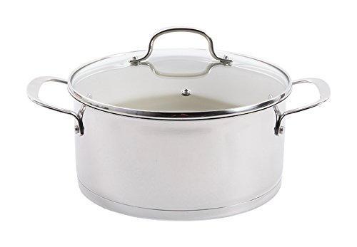Gibson Home Gleaming Dutch Oven with Lid Ceramic Nonstick Interior, 5 quart, Stainless Steel
