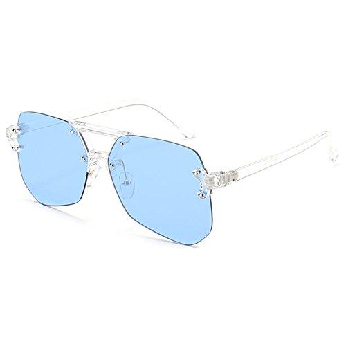 blue Irregular Rimless Femmes de Juleya Gradient Hommes Lunettes soleil qAtxI8