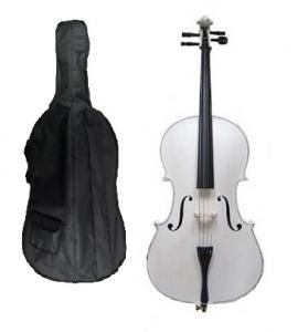 Merano 4/4 Full Size White Student Cello with Bag and Bow+2 Sets of Strings+Cello Stand+Black Music Stand+Metro Tuner+Rosin+Rubber Round Mute