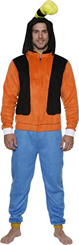 Mickey Mouse Halloween Costumes For Adults (Disney Men's Goofy COS Play ONE Piece Pajama Union Suit, Orange,)