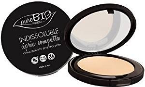 PuroBIO Certified Organic INDISSOLUBILE Face Powder with Anti-Aging & Mattifying Effect, Color 02 Light-Medium. Contains Vitamin E, Rice Powder, Shea Butter, Oils. VEGAN. NICKEL TESTED.MADE IN ITALY                             - Natural Origin Pressed Powder