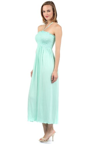 Solid Halter Jersey String Light Mint Dress Soft Bodice Color Smocked Feel Sakkas Long pqxZgBWca