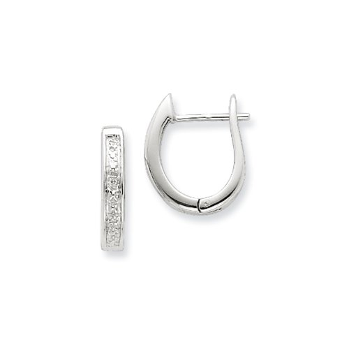 Rhodium Diamond Hinged Earrings (.02 Cttw Diamond Hinged Hoop Earrings in Sterling Silver - 15mm)