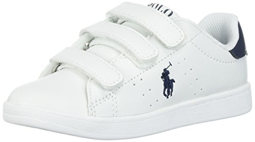 Polo Ralph Lauren Kids Boys' Quincy Court EZ Sneaker, White Tumbled Navy Pop, 7.5 Medium US - Polo Us Ralph Lauren By