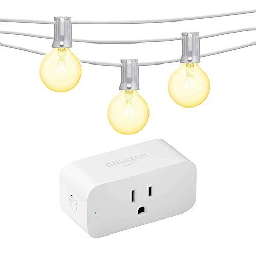 Paquete de enchufe inteligente de Amazon con bombillas Mr Beams Globe G40 (50 pies) - Blanco